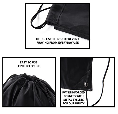 Mato & Hash Basic Drawstring Tote Cinch Sack Promotional Backpack Bag - 100PK Black CA2500 - 2 by Mato & Hash (Image #3)