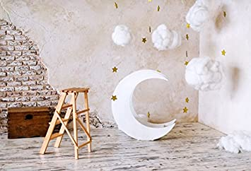 8x8FT Vinyl Wall Photography Backdrop,Sun and Moon,Aboriginal Art Pattern Photo Backdrop Baby Newborn Photo Studio Props
