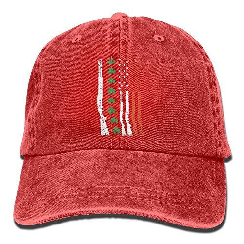 Men Women Clover American Flag Adjustable Vintage Baseball Caps Washed Cowboy Dyed Denim Hat Unisex,Red,One Size