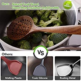 GEEKHOM Wooden Utensils Set of 6, Large Kitchen Cooking Utensil for Non Stick Cookware, Natural Teak Wood Spoons Spatula Ladle Colander, Durable Seamless Kitchen Tools