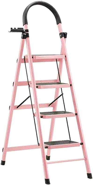 Escalera plegable Un lado de hierro Escaleras de doble uso marco de la escalera de podar del jardín Escalera/Escalera práctica y dispone de estanterías for herramientas // Azul Verde Naranja Rosa Bl: