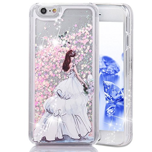 Scuff Base End (Gravydeals® Fun Dynamic Pink Flowing Sparkle Glitter Liquid Quicksand Protective Plasic Hard Back Case Cover for Apple iPhone 5 5S SE - Pretty White Wedding Dress Girl)