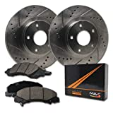 Max Brakes Front Premium Slotted Drilled Rotors w/Ceramic Pads Performance Brake Kit KT114631 | Fits: 2014 14 Fits Nissan Altima Sdn