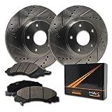 Max Brakes Premium Slotted|Drilled Rotors w/Ceramic Brake Pads Front Performance Brake Kit KT001231 [Fits:1994-1997 Civic Del Sol 2007 2008 Fit]