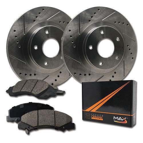 Max Brakes Front Premium Slotted Drilled Rotors w/Ceramic Pads Performance Brake Kit KT026531 | Fits: 2000 00 2001 01 Dodge Pickup Ram 1500 4WD Models -