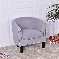 Modern Tub Barrel Fabric Nailhead Accent Arm Chair - Gray
