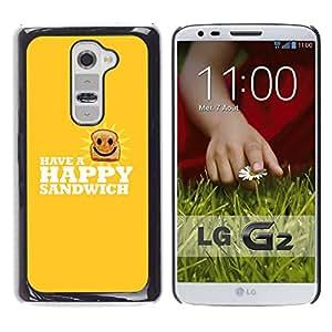 Cubierta protectora del caso de Shell Plástico || LG G2 || Feliz Sandwich divertido Lol @XPTECH