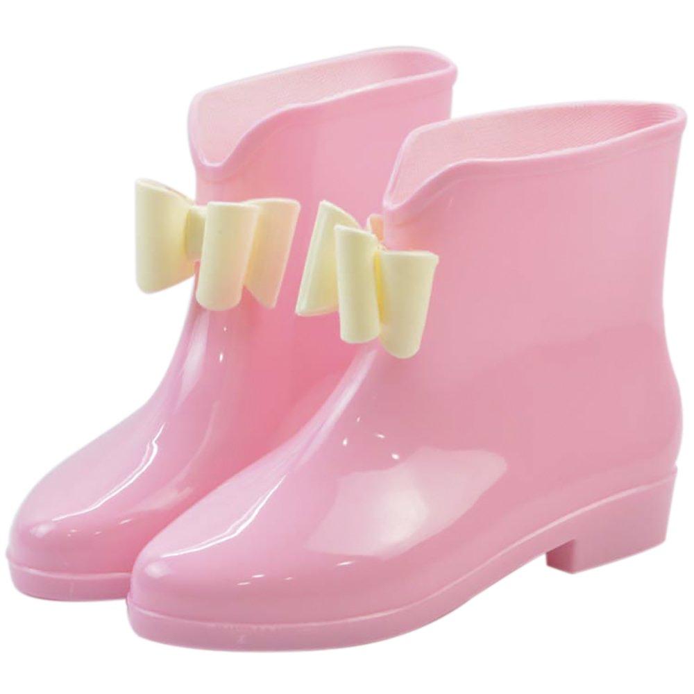 Women's Waterproof Rubber Jelly Anti-Slip Rain Boot Buckle Ankle High Rain Shoes B01J7EWY2Q 6 B(M) US|Green Bowknot