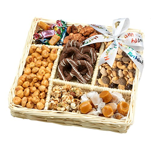 Broadway Basketeers Birthday 5 Section Gourmet Chocolate Gift Basket Candy & Nuts Assortment - Perfect Way to Say Happy Birthday (Pecan Cookie Basket)