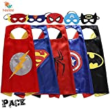 Keistore Cape and Mask Set of 5 Superhero Cartoon Dressing Up Costumes for Kids, Comic Cartoon Birthday Party Game Supplies For Boy and Girl