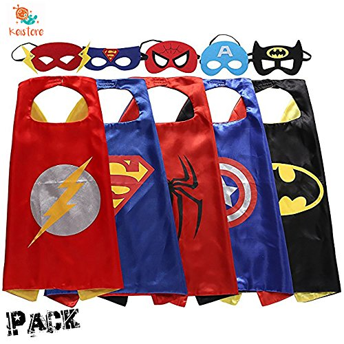 Keistore Cape and Mask Set of 5 Superhero Cartoon Dressing Up Costumes for Kids, Comic Cartoon Birthday Party Game Supplies For Boy and (Two Face Batman Mask)