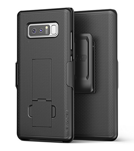 Encased Samsung Galaxy Note 8 Belt Holster, Thin Fit [DuraClip Series] Slim Grip Case & Belt Clip (Smooth Black)