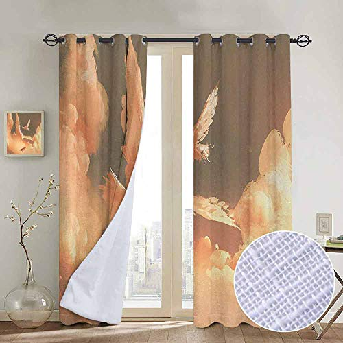 Chrome Pedal Plane - NUOMANAN Blackout Curtains 2 Panels Fantasy,Mythical Phoenix Bird Shaped Fluffy Cloud in Sunset with Plane Freedom Paint Print,Cream Blue,for Room Darkening Panels for Living Room, Bedroom 120