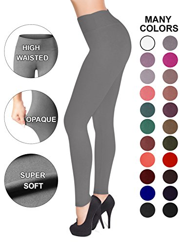 SATINA High Waisted Leggings - 22 Colors - Super Soft Full Length Opaque Slim (Plus Size, Gray)