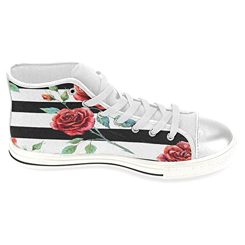 Rentprint Dames Canvas Schoenen Hoge Sneakers Sneakers Lace Up Sneakers Fashion Vorm Rood Roze Zwart Streep Wit