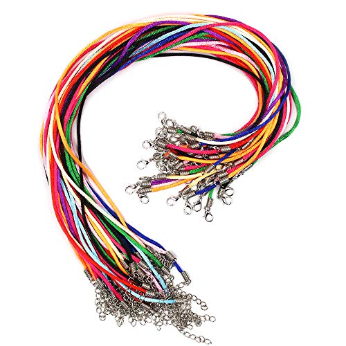 - Erlvery DaMain 40 Pcs Mixed Color Satin Silk Necklace Cord with Lobster Claw Clasp,2mm/20 Inch