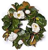 Magnolia Wreath w/ White Blossoms 24'' (Silk)