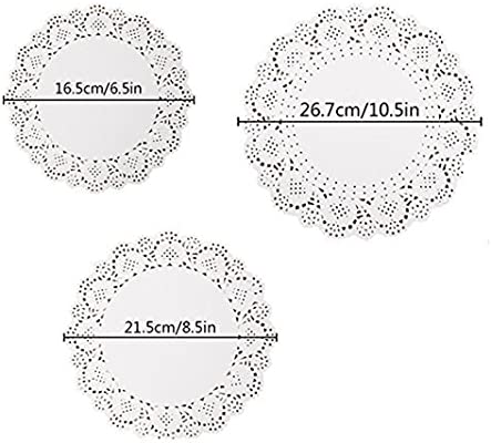 144-Pcs White Round Lace Paper Doilies Cake Packaging Paper Pad and Box Liner DIY Doily Banners Wedding Tableware Decoration 10.5 Inch 8.5 Inch and 6.5 Inch by Kachabros