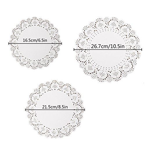 - 144-Pcs White Round Lace Paper Doilies Cake Packaging Paper Pad and Box Liner DIY Doily Banners Wedding Tableware Decoration 10.5 Inch 8.5 Inch and 6.5 Inch by Kachabros