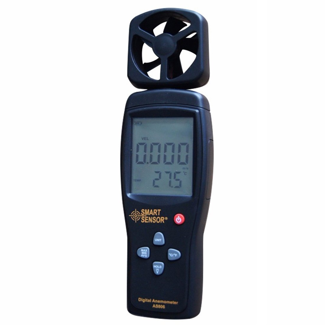 SmartSensor AS806 Digital Anemometer Wind Speed Meter Wind Direction Tester 0.3~45m/s Thermometer