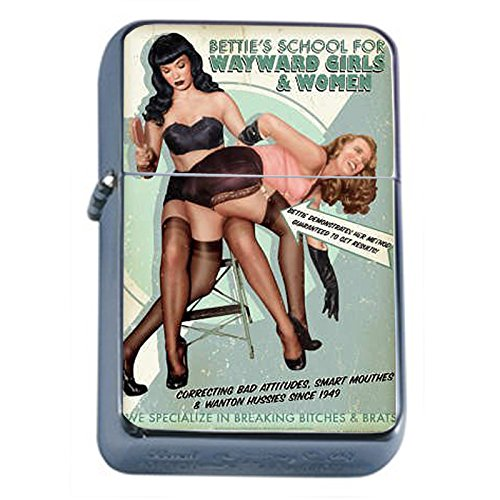 Flip Top Lighter (Silver Flip Top Oil Lighter Vintage Poster D-047 Bettie's School For Wayward Girls & Women Retro Vintage)