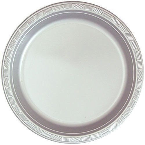 (Hanna K. Signature Collection 100 Count Plastic Plate, 10-Inch, Silver)