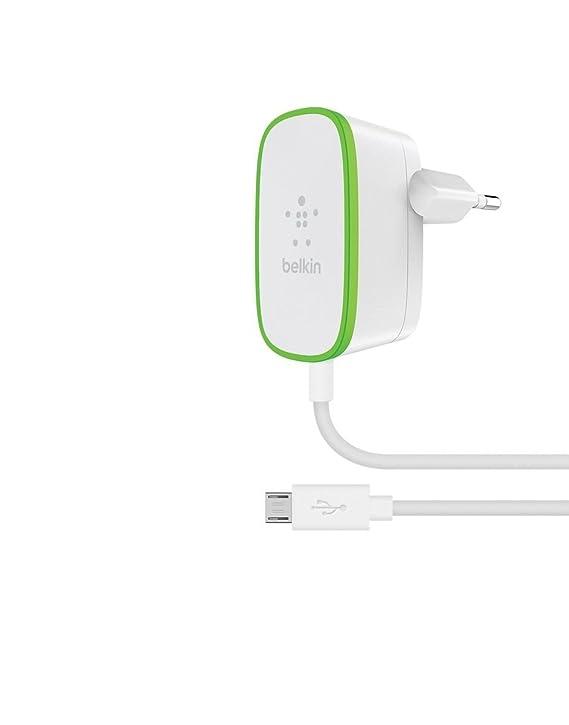 Belkin F7U009vf06-WHT - Cargador doméstico para Smartphones y tabletasde con Cable Micro-USB Integrado de 1,8 m, Blanco