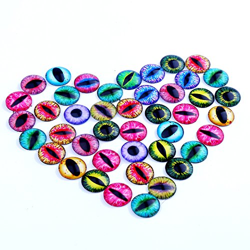 DECORA 20mm Glass Eyes Dome Cabochons Design Flatback Scrapbooking Dome Eyes Assorted Color 40pcs