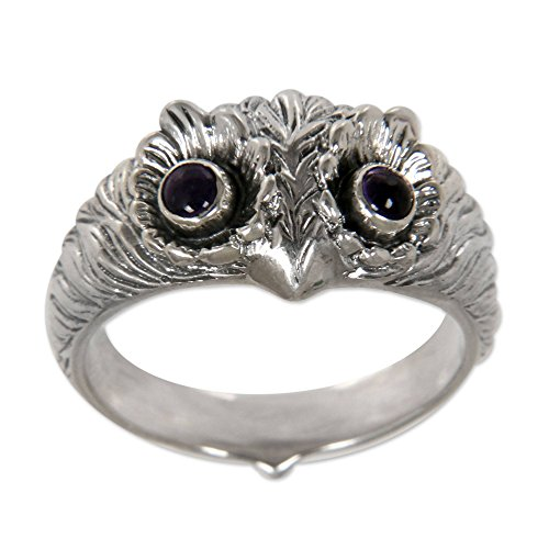 NOVICA Amethyst .925 Sterling Silver Bird Band Ring 'Owl Wisdom'