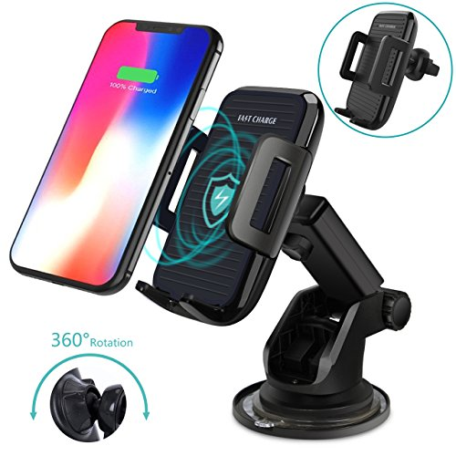 Wireless Car Charger Mount,THZY Fast Charging Car Dashboard Windshield Air Vent Phone Holder 360°Rotation for Samsung Galaxy S9/S9+,S8/S8+,S7/S7 Edge,Note 8 5,iPhone X, 8/8 Plus & Qi Enabled Devices. by THZY