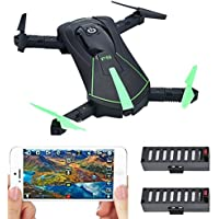 Contixo Fathers Day Deal F8 Foldable Pocket Size Selfie Drone Voice Controls 720P HD Wifi Live FPV Video Camera 360 Stunts 8-10min Fly Time Gravity Control 2 Batteries - Best Gift