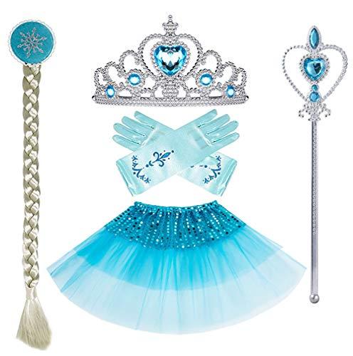 Tiara Tutu - Yosbabe Princess Elsa Cinderella Dress up Accessories Blue Party Favors 5 Pcs Gifts Set - Gloves Tutu Dress Tiara Crown Wig and Wand