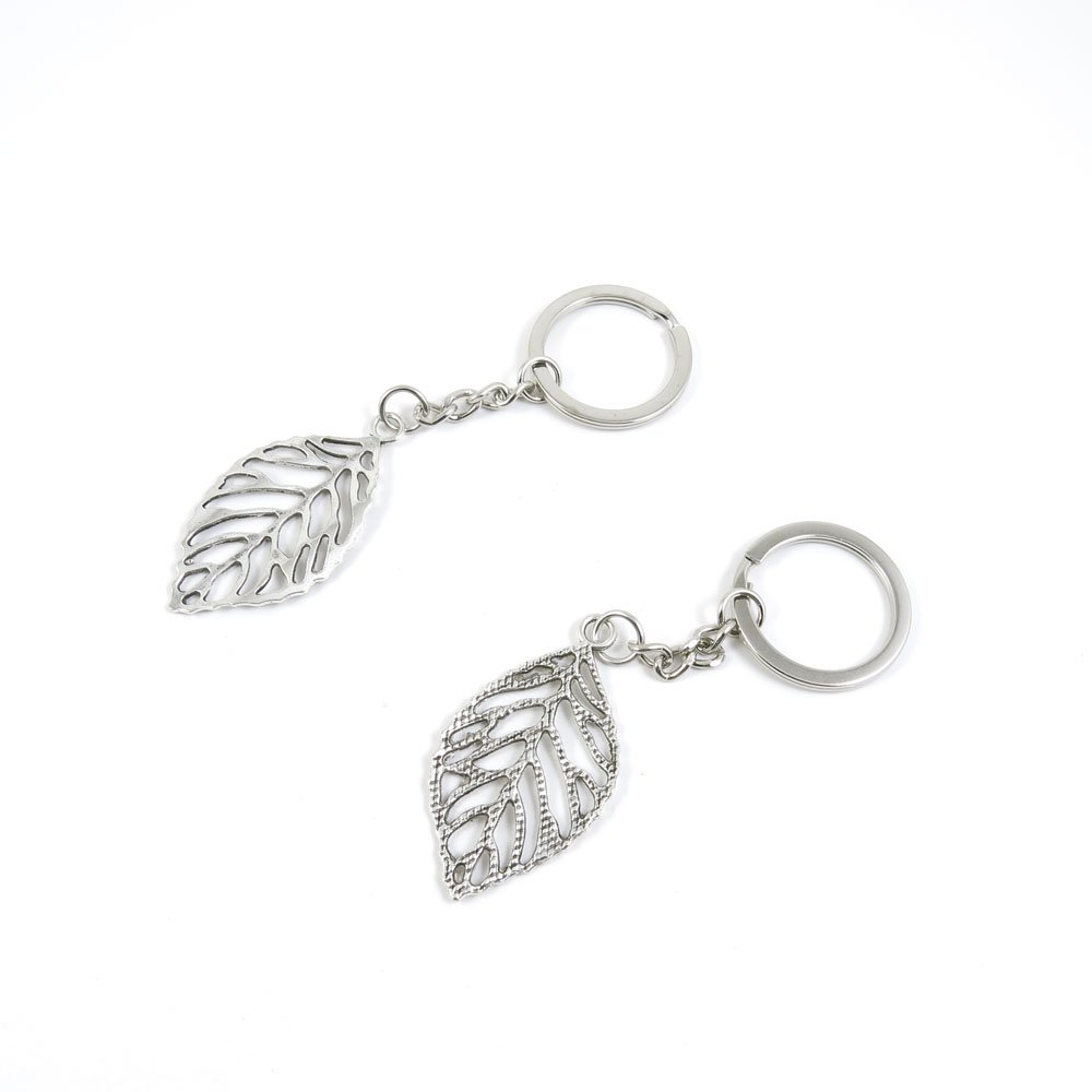 40 Pieces Keychain Door Car Key Chain Tags Keyring Ring Chain Keychain Supplies Antique Silver Tone Wholesale Bulk Lots X3DI1 Leaf Leaves