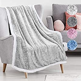 Catalonia Classy Grey Sherpa Throw Blanket,Super Soft Fluffy Fuzzy Comfy Velvet Plush Fleece TV Blankets and Throws for Sofa Couch Bed for Adults Child, 150 x 130 cm,Melange