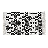 Cotton Printed Rug, Seavish Decorative Black and White Tribal Hand Woven Rag Rug Entryway Thin Throw Mat For Laundry Room Living Room Dorm, 2x3