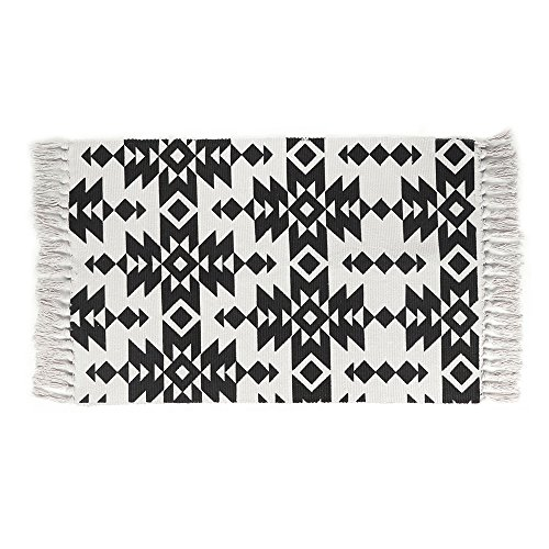 Cotton Printed Rug, Seavish Decorative Black and White Tribal Hand Woven Rag Rug Entryway Thin Throw Mat For Laundry Room Living Room Dorm, 2x3 by Seavish