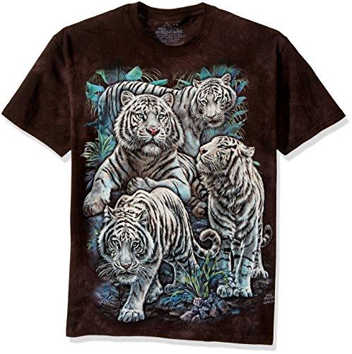 The Mountain Majestic White Tigers Adult T-Shirt, Black, Medium