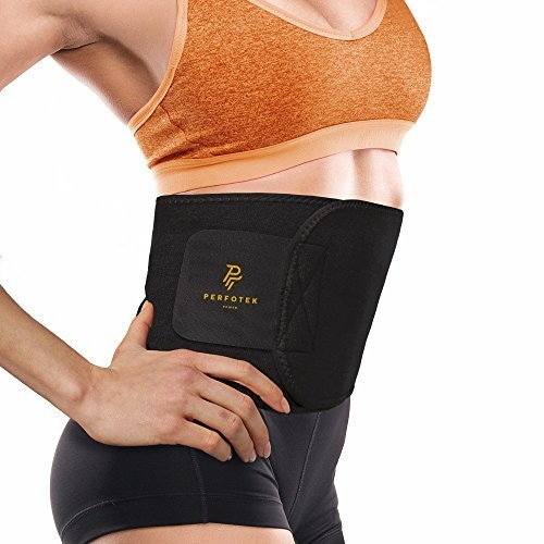 Perfotek Waist Trimmer Belt, Slimmer Kit, Weight Loss Wrap, Stomach Fat Burner, Low Back and Lumbar Support with Sauna Suit Effect, Best Abdominal Trainer