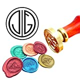 Kooer Custom Personalized Monogram Wax Seal Stamp Gatsby Style Initials Sealing Wax Stamp Kit Gatsby Wax Stamp Custom Initial Wedding Invitation Wax Seal Kit Wedding Sealing Stamp