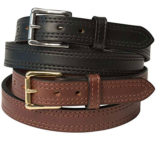 "1 1/2"" Double Stitched Heavy Duty Leather Gun Belt Brown 38"