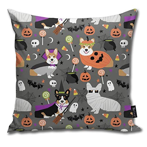 (Corgi Halloween Party - Cute Corgis Dressed Up for October 31st Decorative Throw Pillow Case Cushion Cover 18 X 18)
