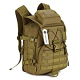 IOKHEIRA 30L Brown Outdoor Patch Sport Tactical Military Assault MOLLE Backpack