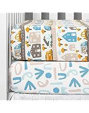 TILLYOU Cotton Printed Crib Sheets Set