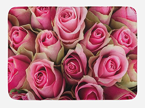 """Ambesonne Rose Bath Mat, Blooming Fresh Pink Roses Bridal Bouquet Romance Sweetheart Valentine, Plush Bathroom Decor Mat with Non Slip Backing, 29.5"""" X 17.5"""", Pink Pale Green"""