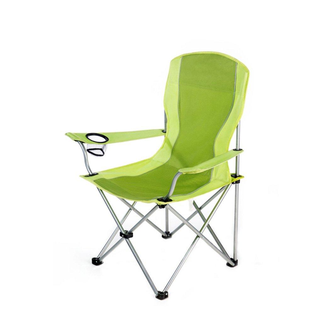 HM&DX アウトドアキャンプ椅子折りたたみ ポータブル コンパクト ビーチチェア と カップ ホルダー ヘビーデューティ キャンプ椅子 の バックパックを背負ってハイキング釣りピクニック B07CYX8DBN  緑