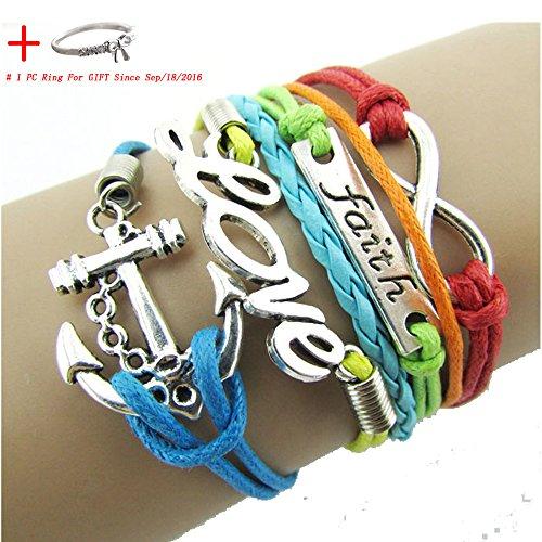Doinshop Nice Colorful Infinity Friendship Love Anchor PU Leather Charm Bracelet DIY