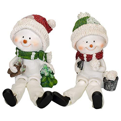 Transpac Imports, Inc. Snowman Shelf Sitter White 7 x 3 Resin Christmas Holiday Figurines Set of 2 (Snowman Shelf)