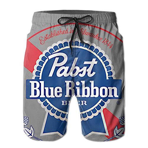 Mens Pabst Blue Ribbon Beer Logo Comfortable Quick Dry Swim Trunks Elastic Drawstring Surfing Shorts ()
