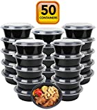 microwavable food container lunch - 50-Pack meal prep Plastic Microwavable Food Containers for meal prepping bowls with Lids (28 oz.) Black Reusable Storage Lunch Boxes -BPA-Free Food Grade -Freezer & Dishwasher Safe. - HIGH QUALITY