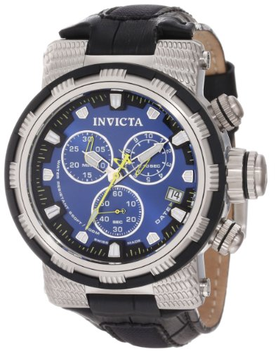 Men's  Reserve Chronograph Blue Dial Black Leather Watch - Invicta 11229